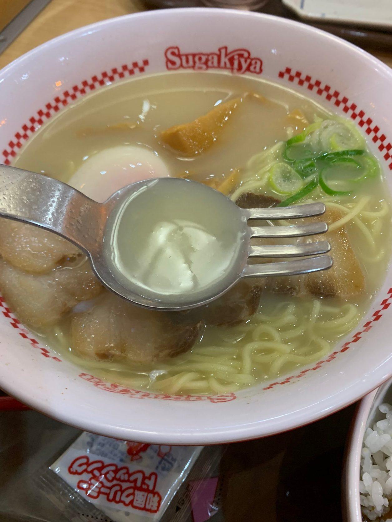 兵庫県尼崎にあるスガキヤつかしん店の特製ラーメンのスープ