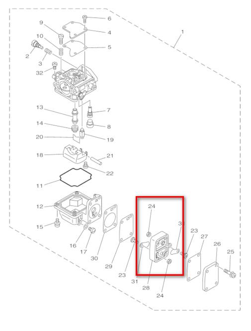 63V-14301 Outboard Engine Carburetor Fuel Pump Body with
