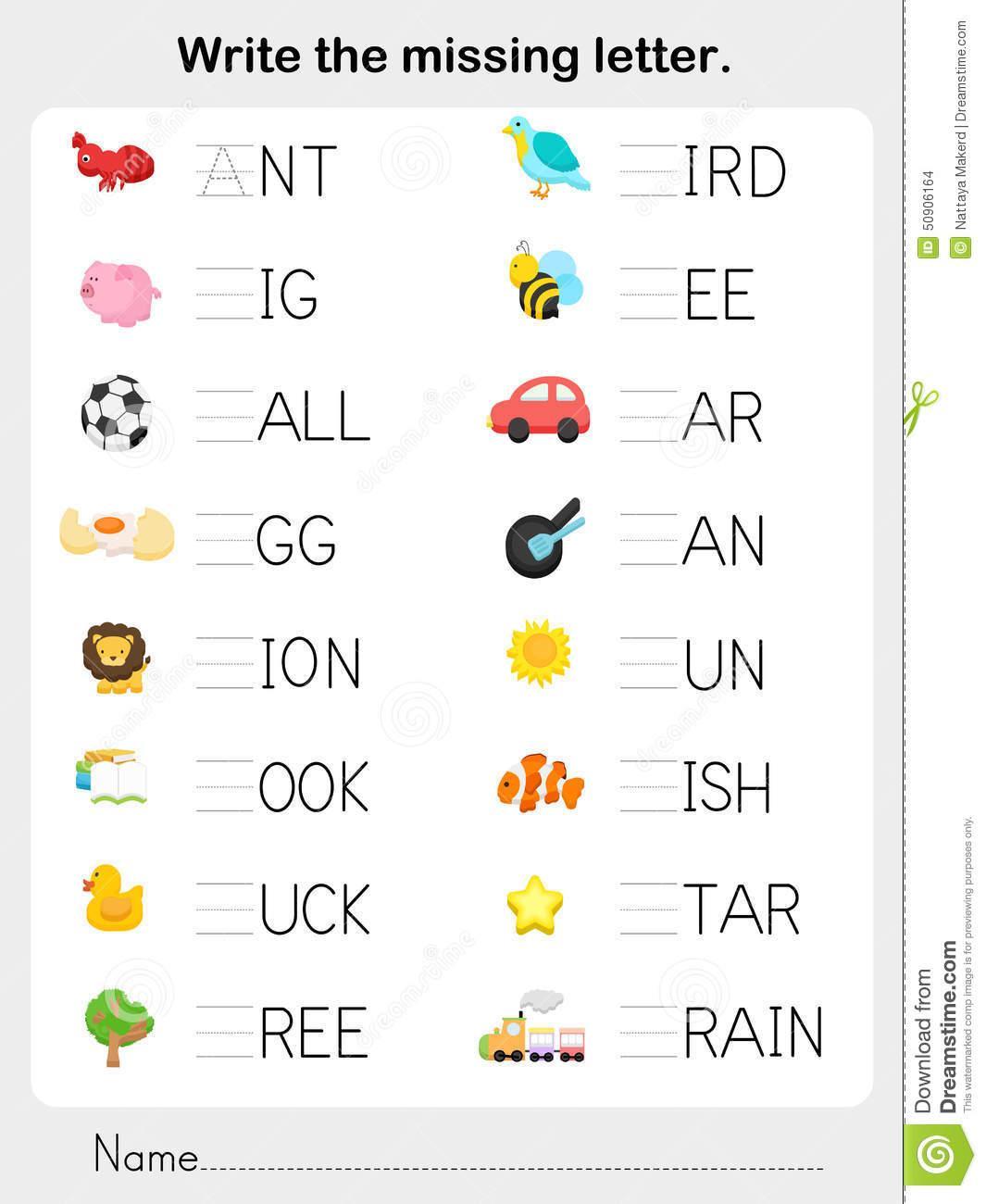 Write Missing Letters Worksheet 1 Letter Worksheets