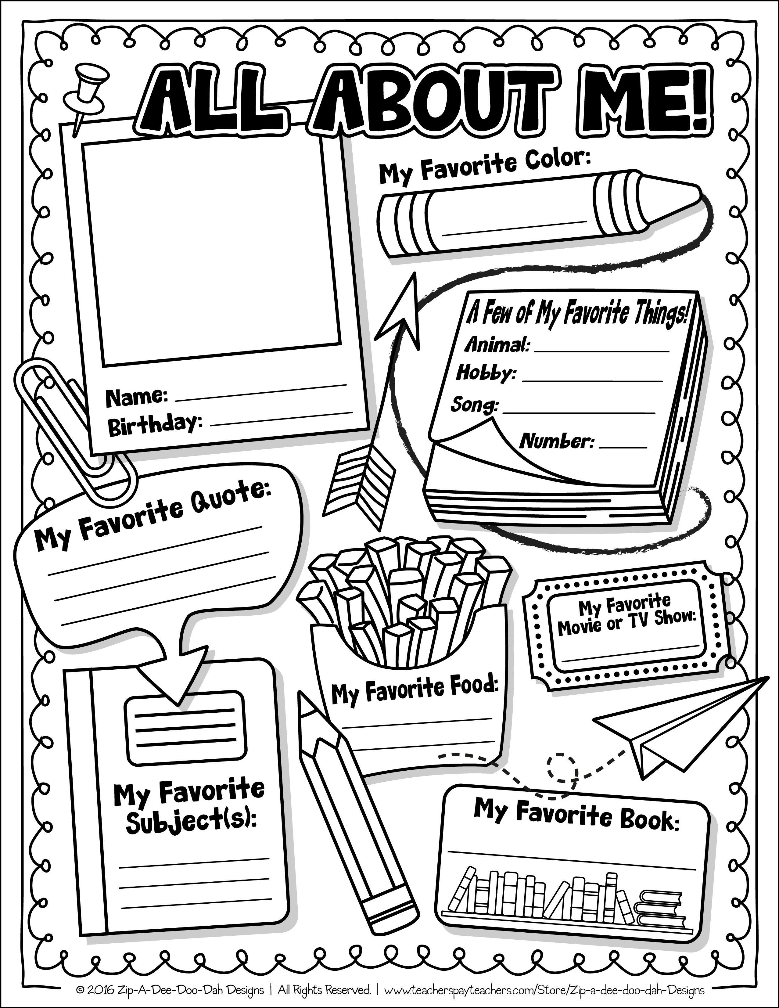 All About Me Preschool Printable Worksheets Letter