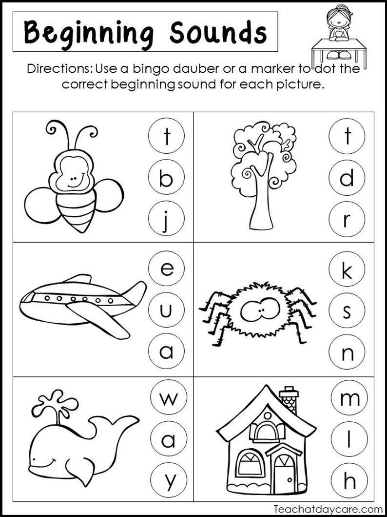 Free Printable Beginning Sounds Worksheets For Kindergarten – Letter  Worksheets