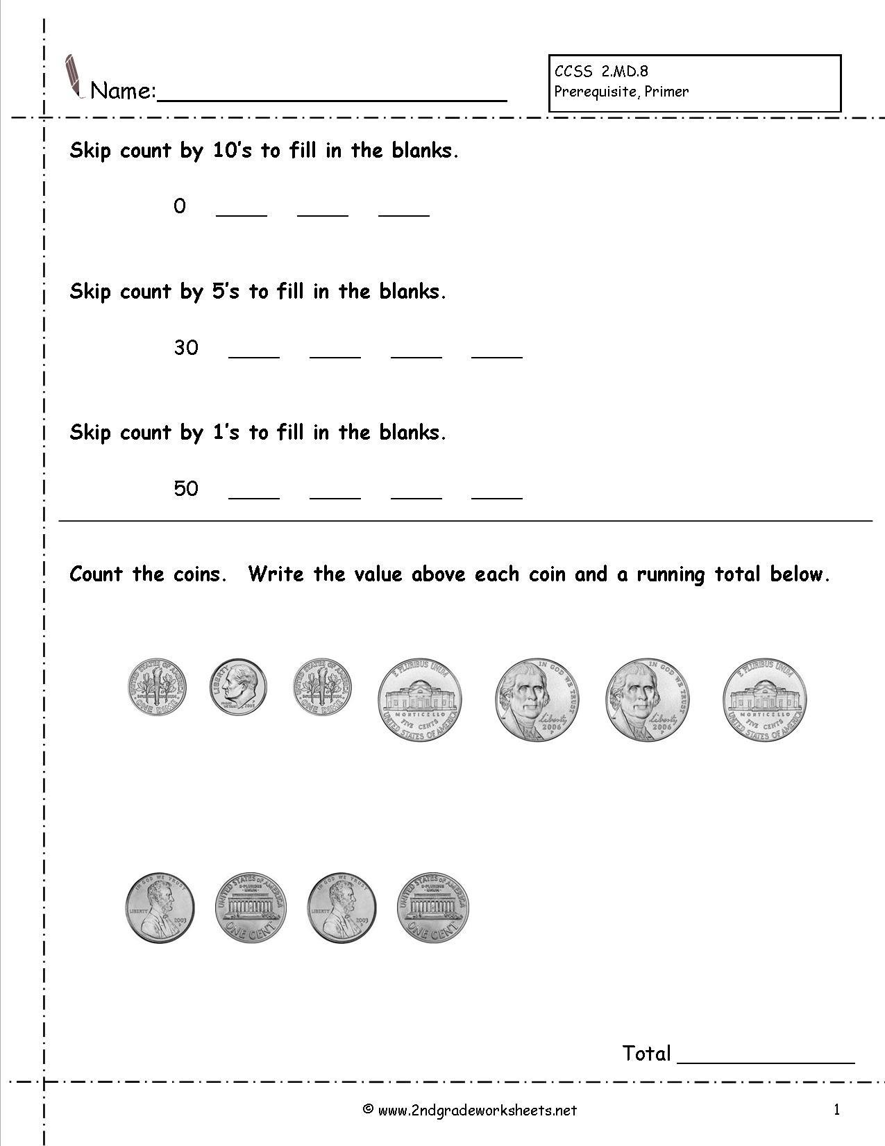 Printable Worksheets Counting Money Letter Worksheets