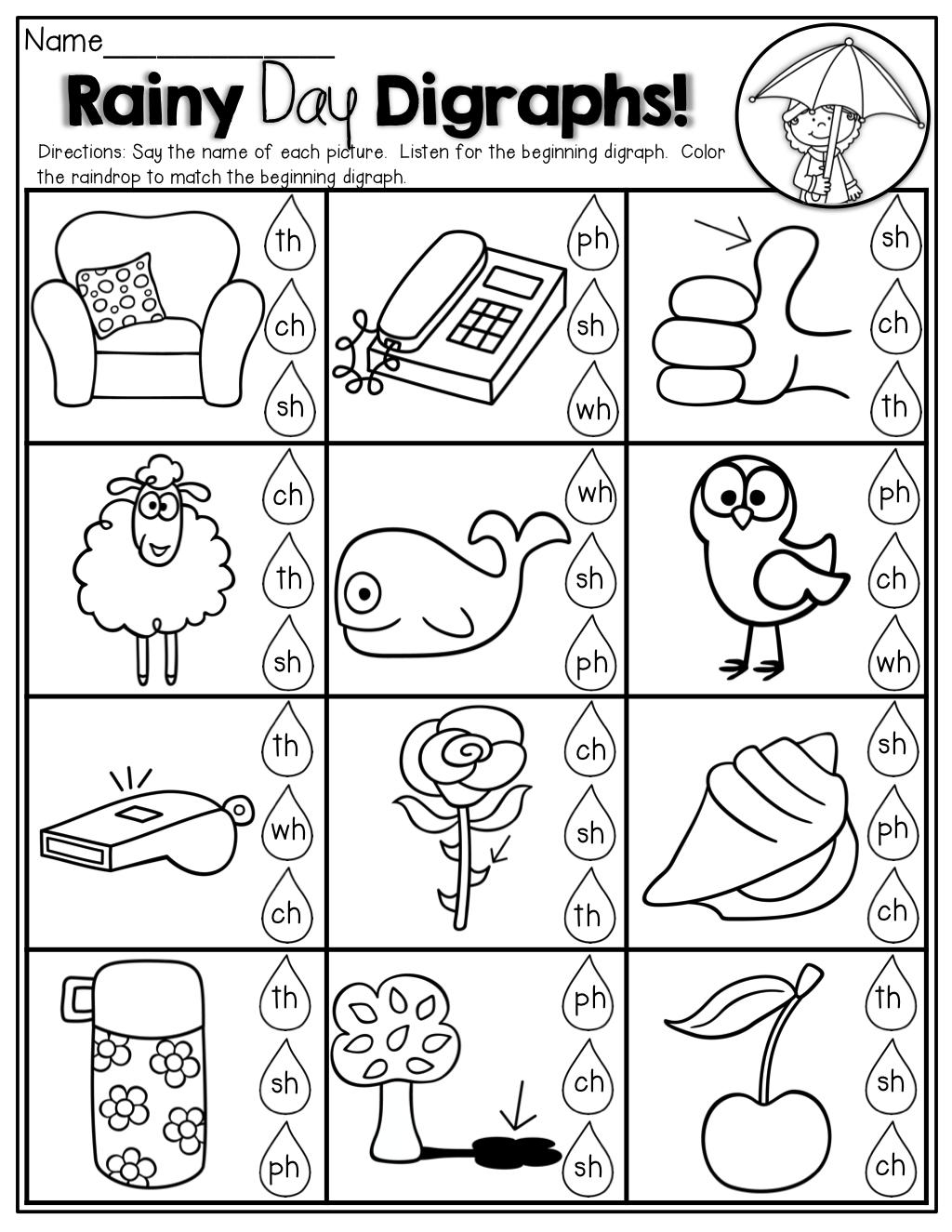 Free Printable Digraph Worksheets For Kindergarten