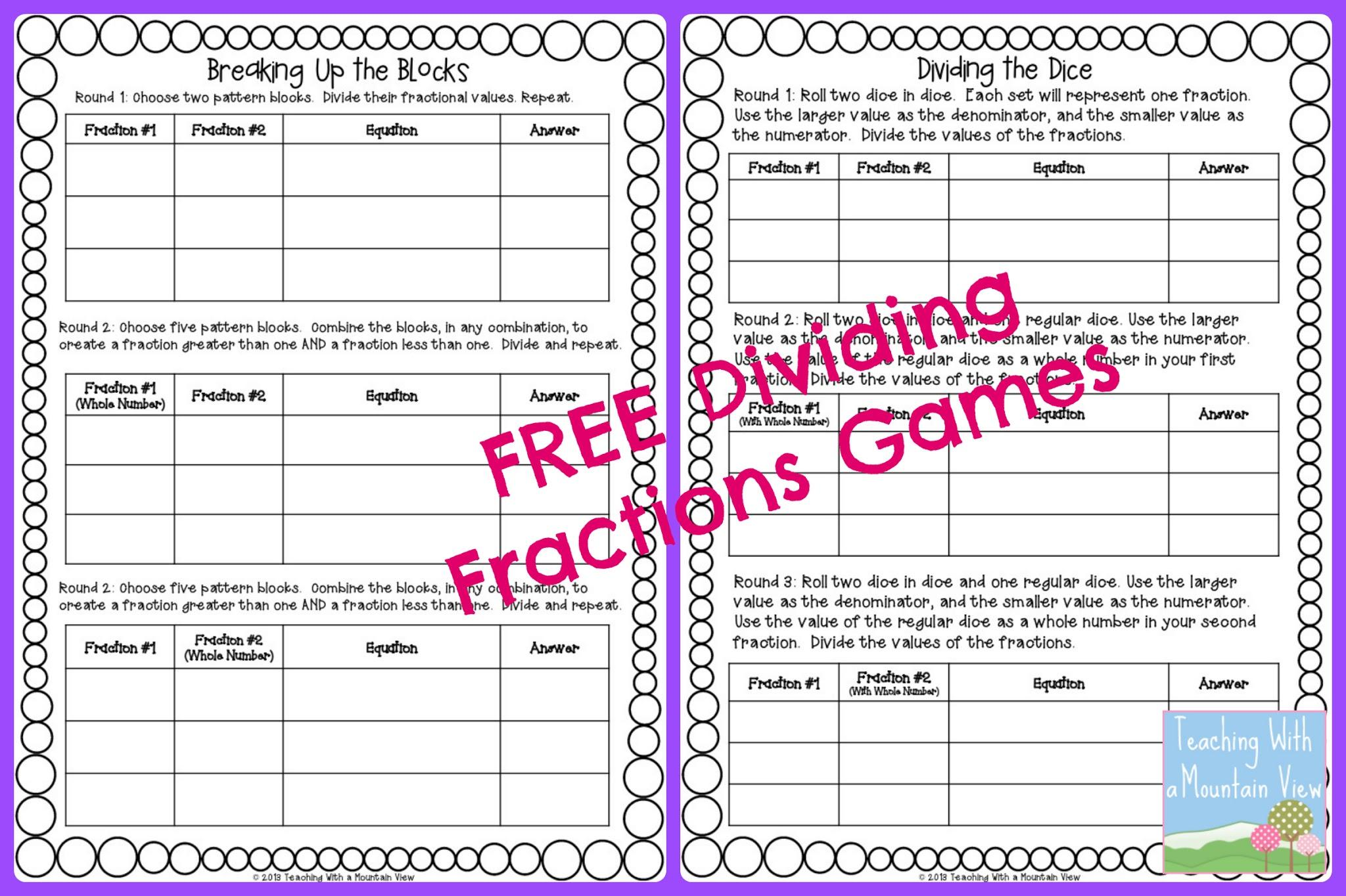 Printable Math Worksheets Dividing Fractions 4 Letter