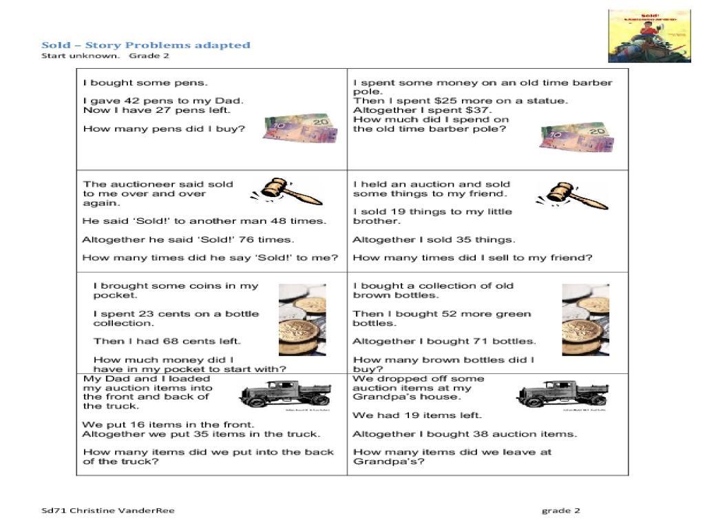 Printable Math Worksheets Money Word Problems 8 Letter