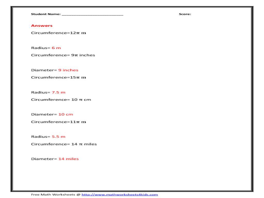 Printable Math Worksheets Radius Diameter 1 Letter
