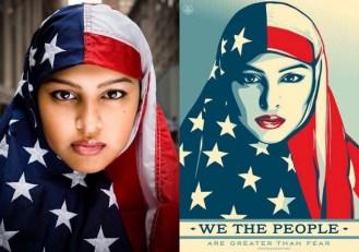 星条旗のヒジャブをつけた女性