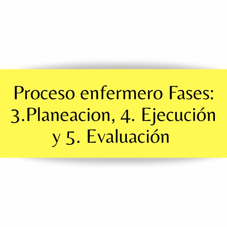 Planificación, ejecución, y evaluación proceso enfermero.