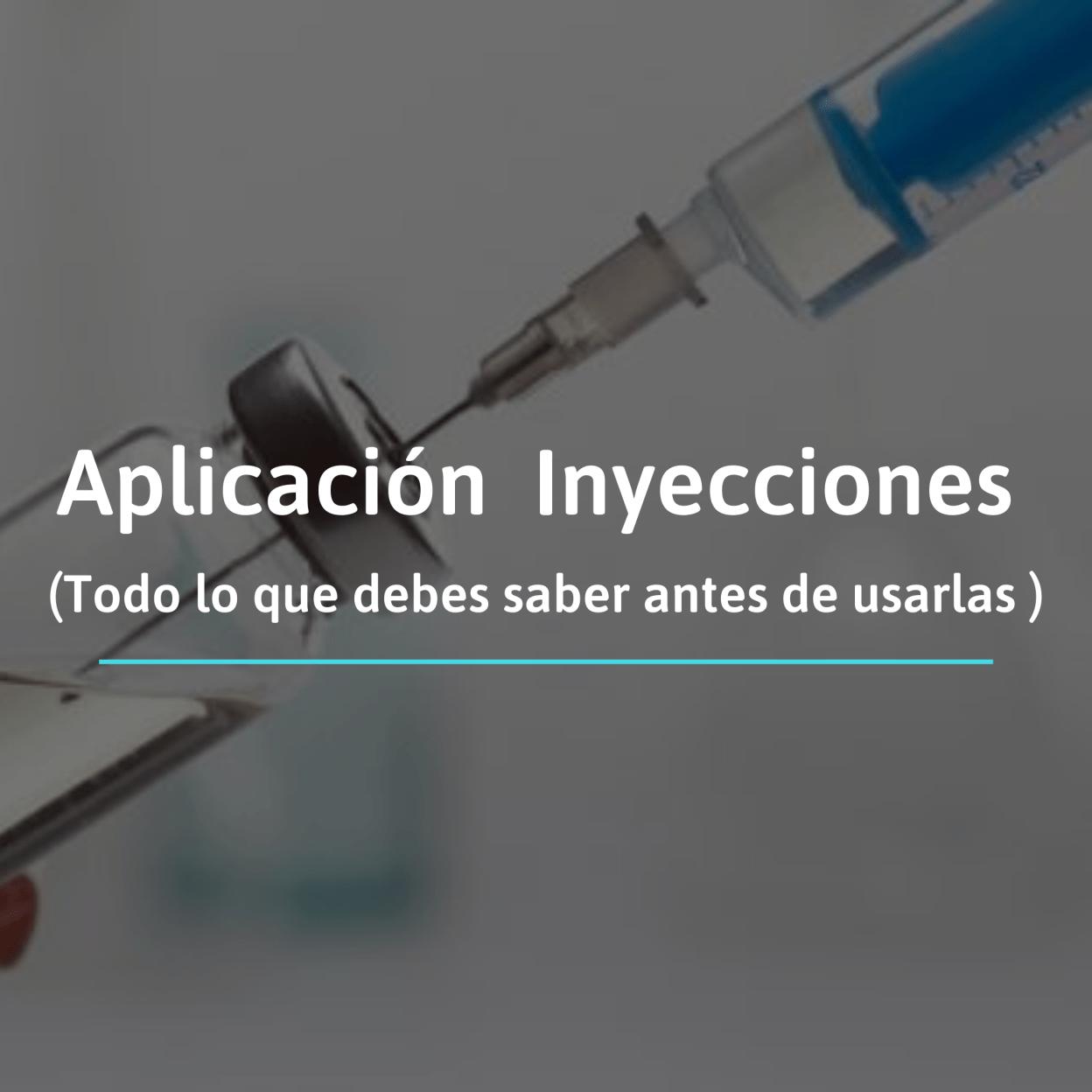 La aplicación de la inyecciones se refiere al hecho o acción introducir a través de la aguja de una jeringa una sustancia en alguna capa de la piel o musculo