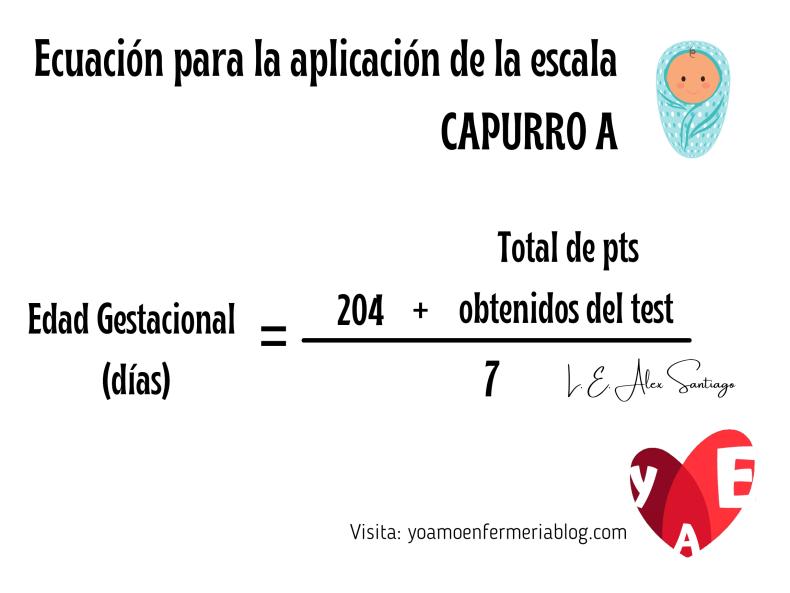 Ecuación para la aplicación de la escala CAPURRO A