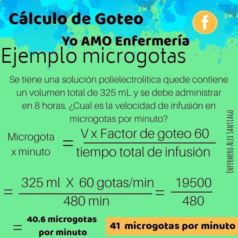 ejercicio calculo de goteo microgotas
