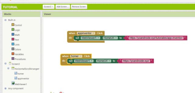 configurar webviewer en app inventor