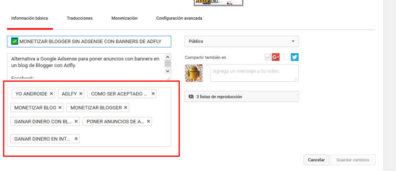 Etiquetas o tags para videos de Youtube