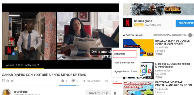 denunciar video robado en youtube