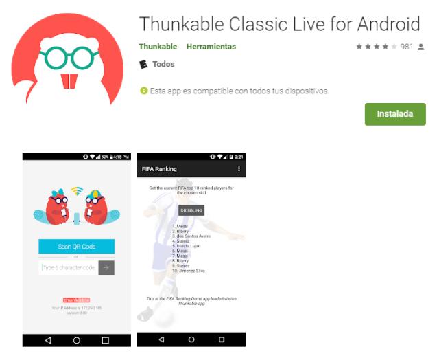 aplicacion thunkable para android