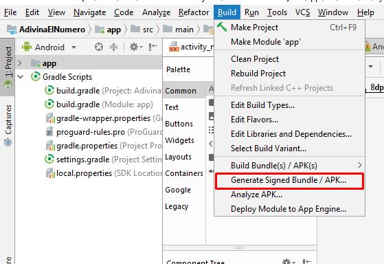 generar apk android studio para actualizar