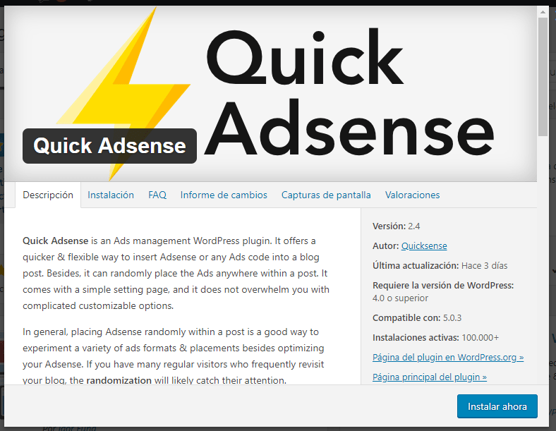 quick adsense plugin wordpress