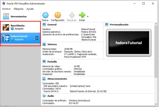descargar e instalar fedora en virtualbox