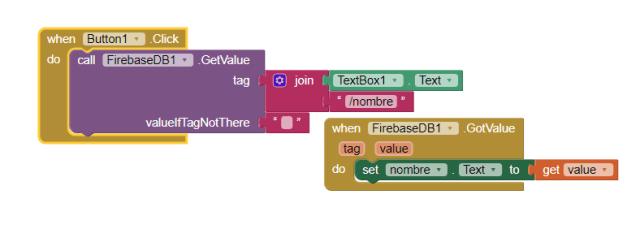app inventor bloques traer recuperar leer datos firebase