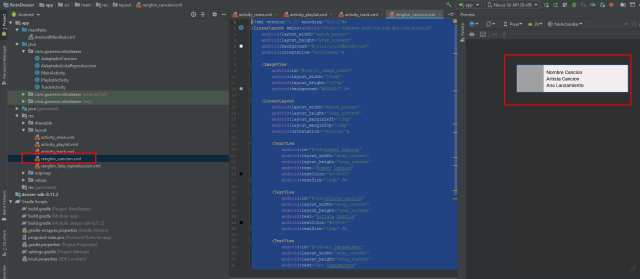 renglon cancion dezzer api android studio