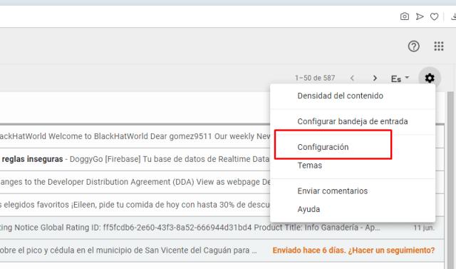 gmail activar respuestas automáticas