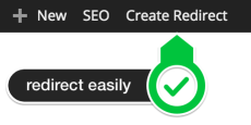 Redirect button WordPress SEO Premium