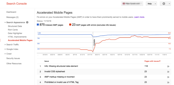 Search Console: accelerated mobile pages