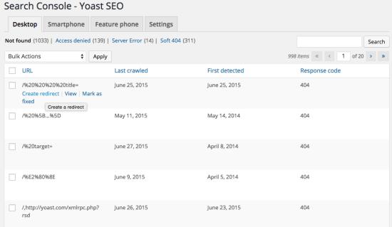 Yoast SEO Google search console integration screenshot