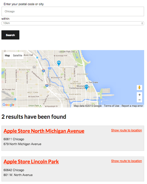 what a store locator looks like