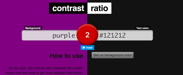 Accessibility tools: contrast ratio calculation