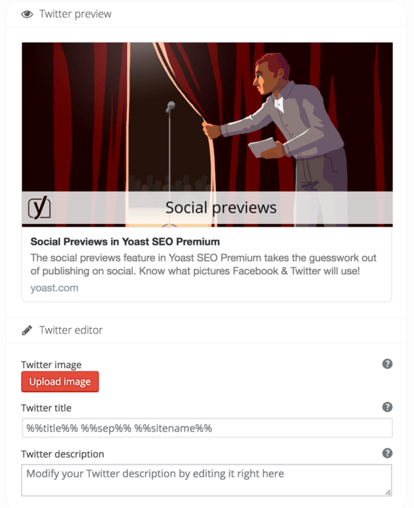 Twitter social preview with edit fields