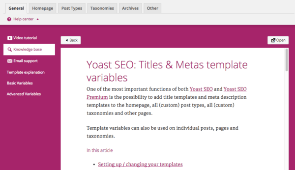 yoast help center article loaded inline