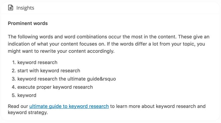 Yoast insights in Yoast SEO keyword research