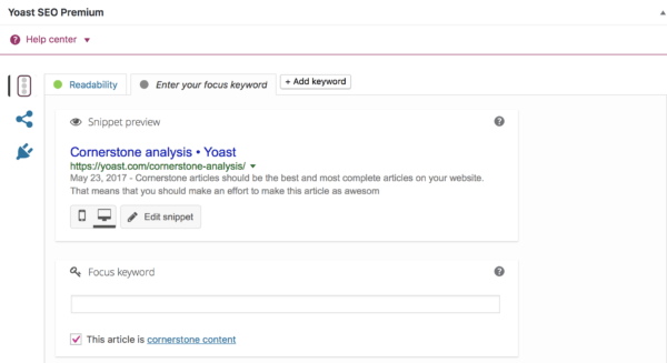 cornerstone analysis yoast seo