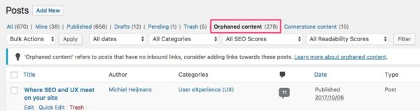 orphaned posts Yoast SEO 5.6