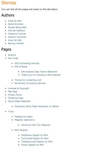 html sitemap for wordpress as shown on yoast
