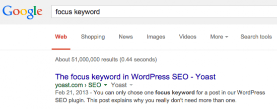 """a search for """"focus keyword"""" in Google"""