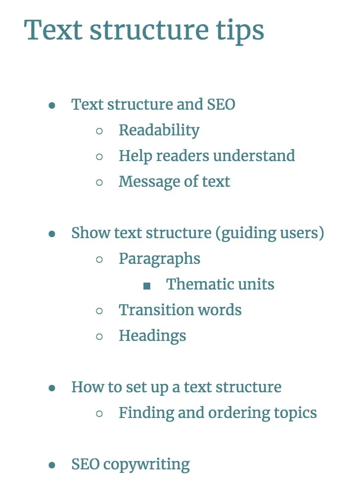 setting up a text structure step 2