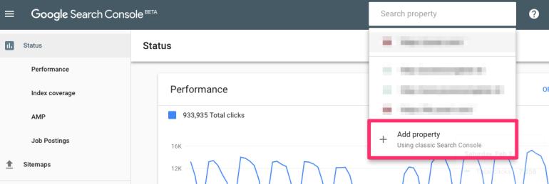 Google search console - add property