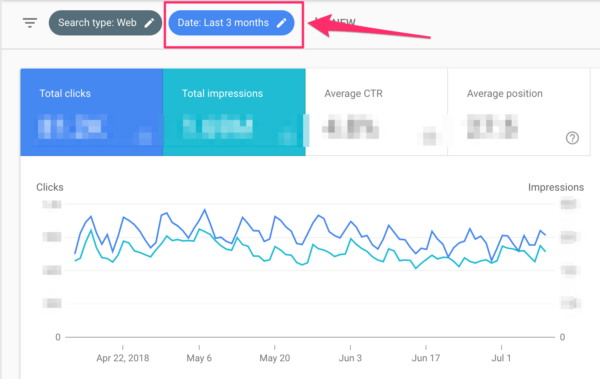 Changing date in Google Search Console