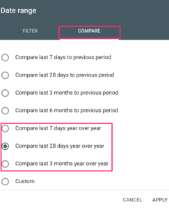 Comparing dates in Google Search Console