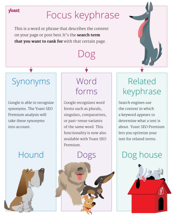 Yoast SEO word forms infographics