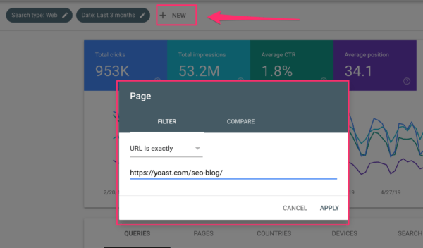 Adding a page filter in Google Search Console