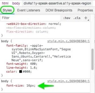 Kode CSS yang ditemukan
