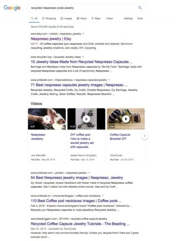 the search results pages for the term recycled nespresso pods jewelry.