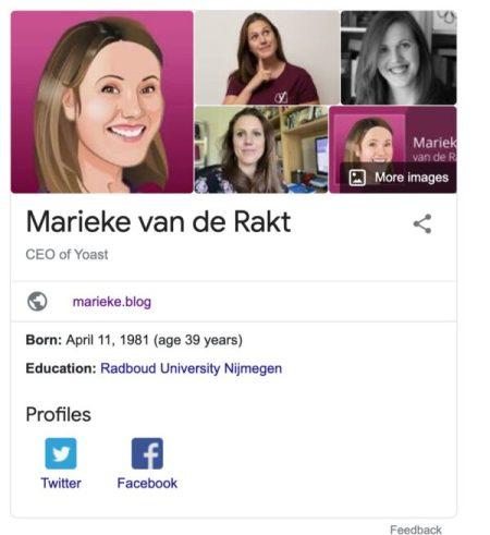Example of Google's knowledge panel about Marieke van de Rakt
