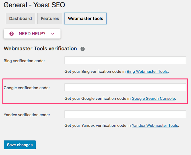 在 WordPress SEO 外掛 Yoast 中驗證 Google Search Console