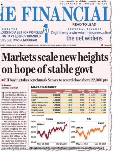 ״השווקים ממריאים לגבהים חדשים ״, מודיע העתון הפיננסי ההודי ׳פייננשל אקספרס׳, עשרים-וחמשה במארס 2014. שתי העקומות מראות את עליית שני המדדים העיקריים בבורסה של  מומבאיי מאז תחילת השנה