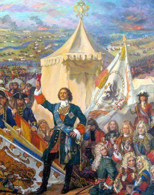 פטר הגדול הופך ל״גדול״: קיסר רוסיה חוגג את נצחונו בקרב פולטבה על השוודים ועל המורדים הקוזאקיים בהרמת כוסית לכבוד שבוייו. האוטוקראט והגנרלים השוודיים החליפו מחמאות כיאה לג׳נטלמנים. המלך פרידריך מפרוסיה, שלמד את קרב פולטבה, הסיק ממנו מסקנות נכונות: אסור לפלוש לרוסיה ממערב. נפוליאון והיטלר לא שעו לו (המקור: ציור של מיכאיל שאנקוב)