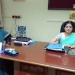 K. Pranav in conversation with the new principal of Sri Sankara Senior Sec. School